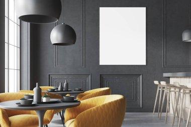Black loft cafe interior with a bar, poster