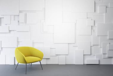 White empty room, yellow armchair