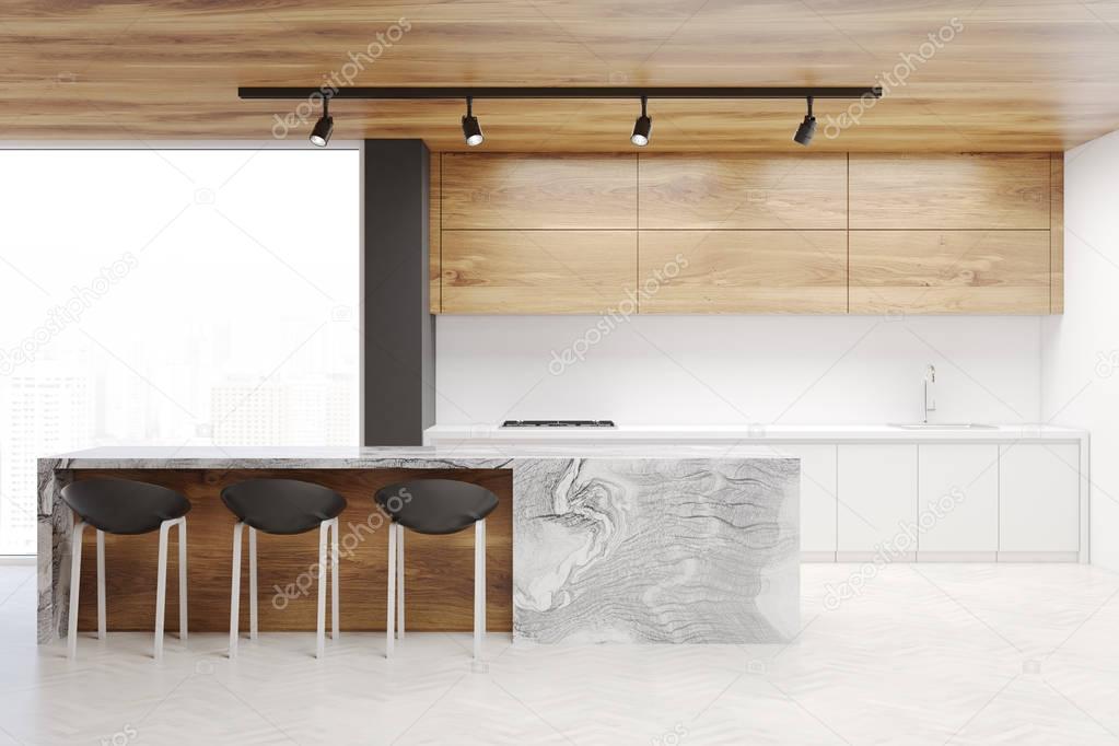 Fotos barras de madera interior de la cocina blanca y - Cocina blanca encimera madera ...