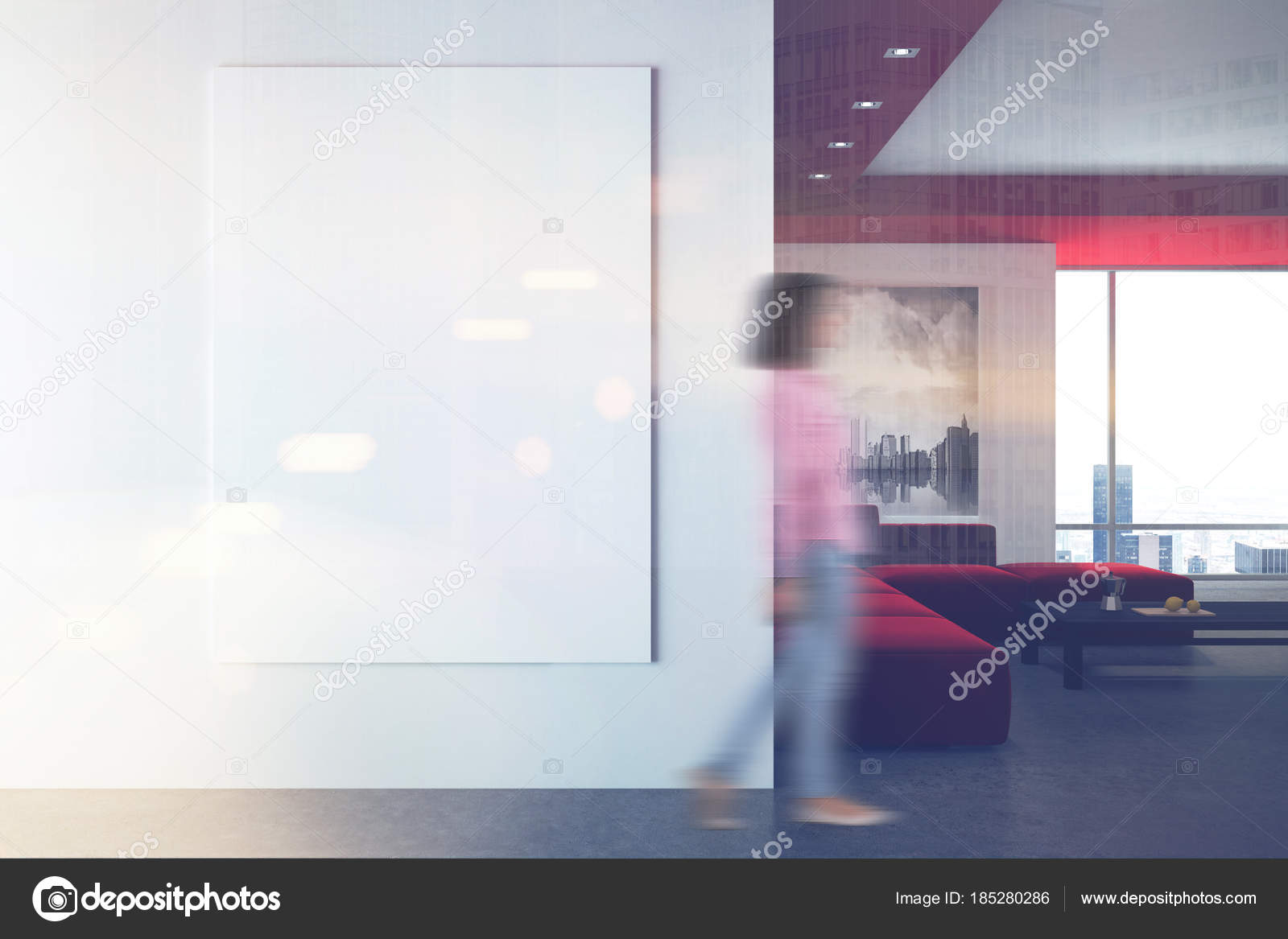 White and red living room, poster, wall blur — Stock Photo ...