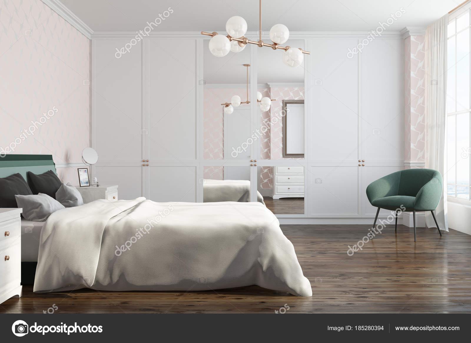 Weiße Muster Schlafzimmer, Seitenansicht — Stockfoto ...