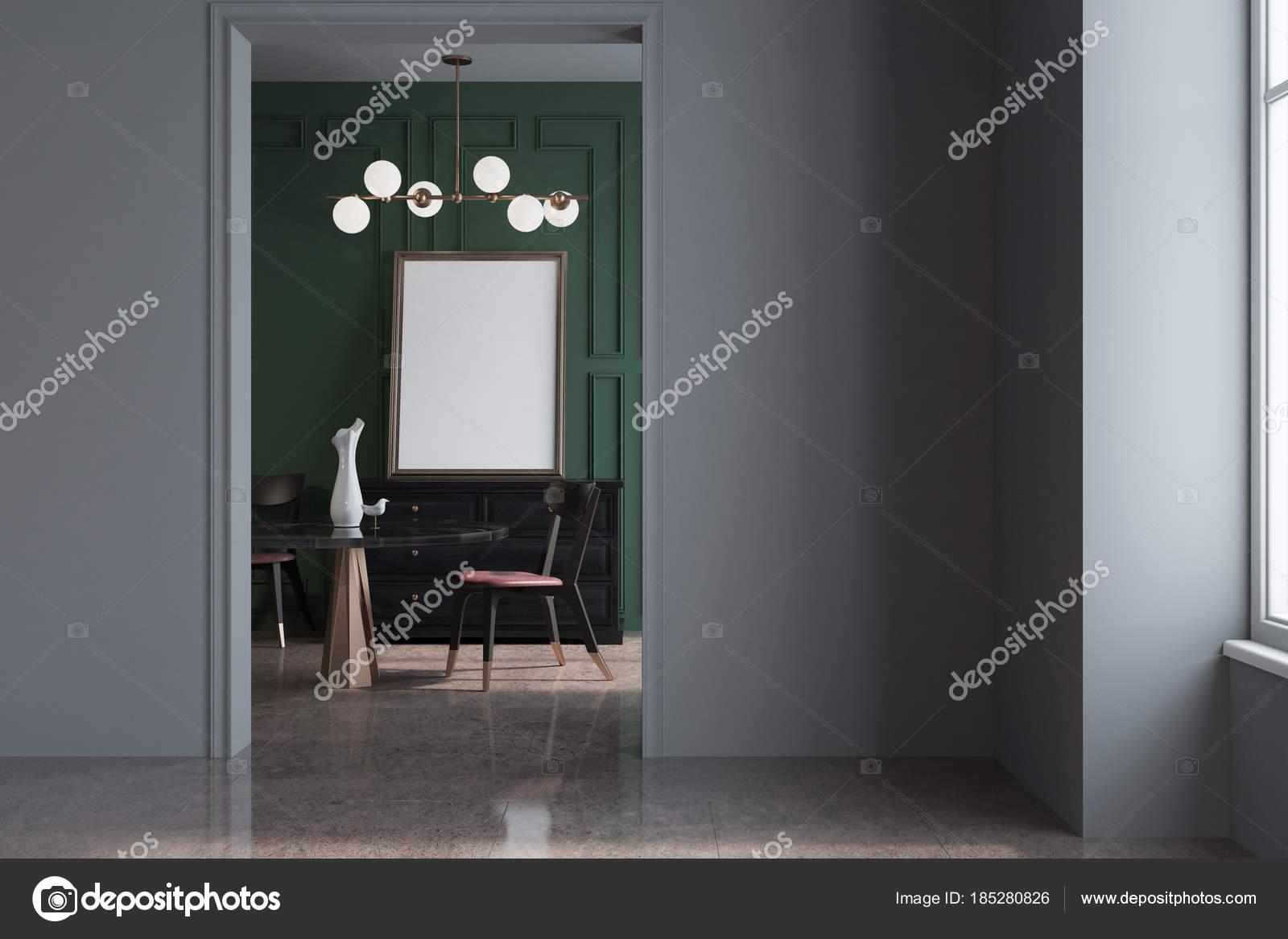 Graue Und Grüne Wohnzimmer Interieur Mit Einem Runden Schwarzen Tisch,  Stühlen Und Einem Schrank Im Hintergrund. Ein Plakat. 3D Rendering Mock Up  U2014 Foto Von ...