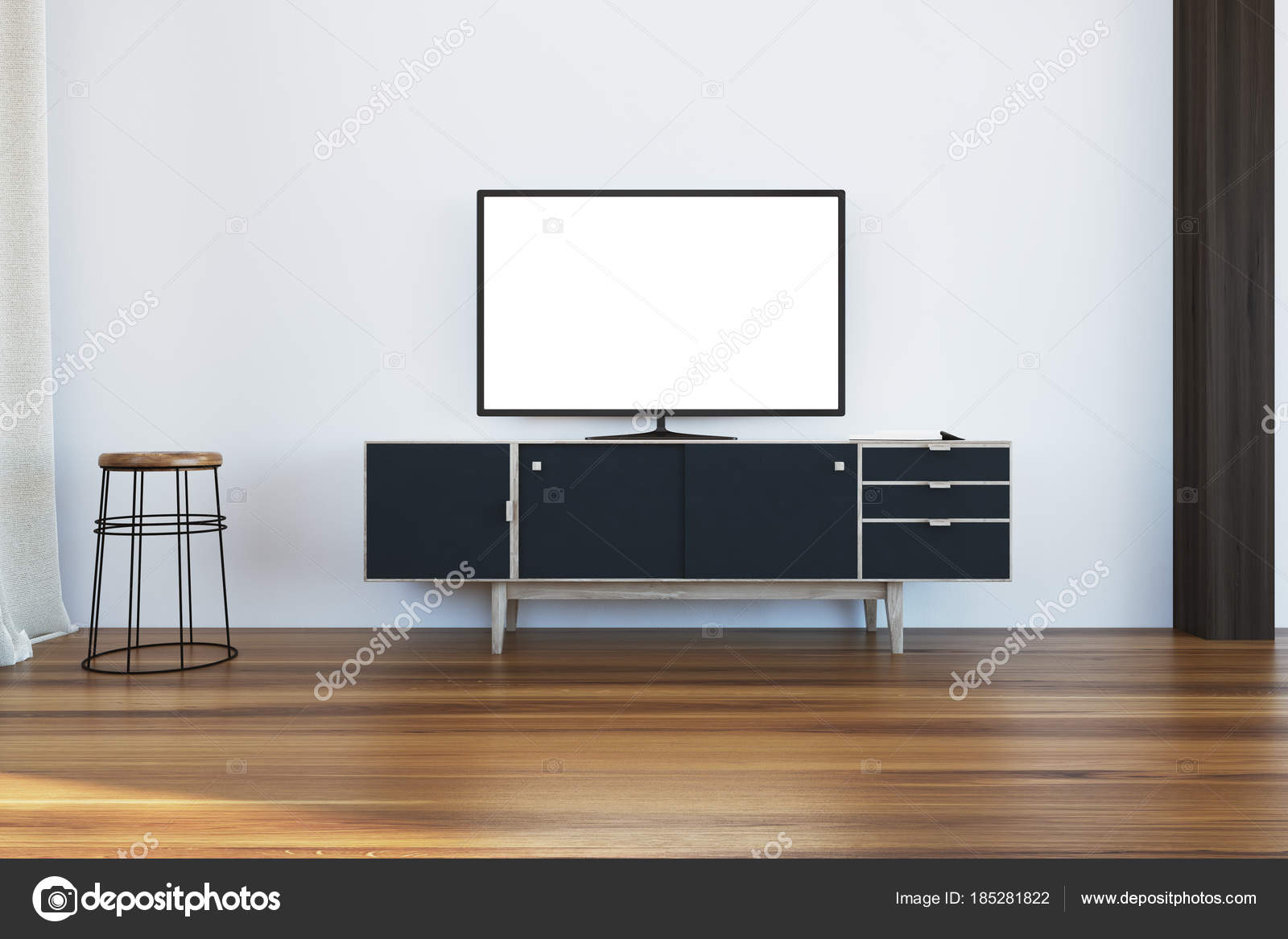 TV set on a black cabinet in living room — Stock Photo ...