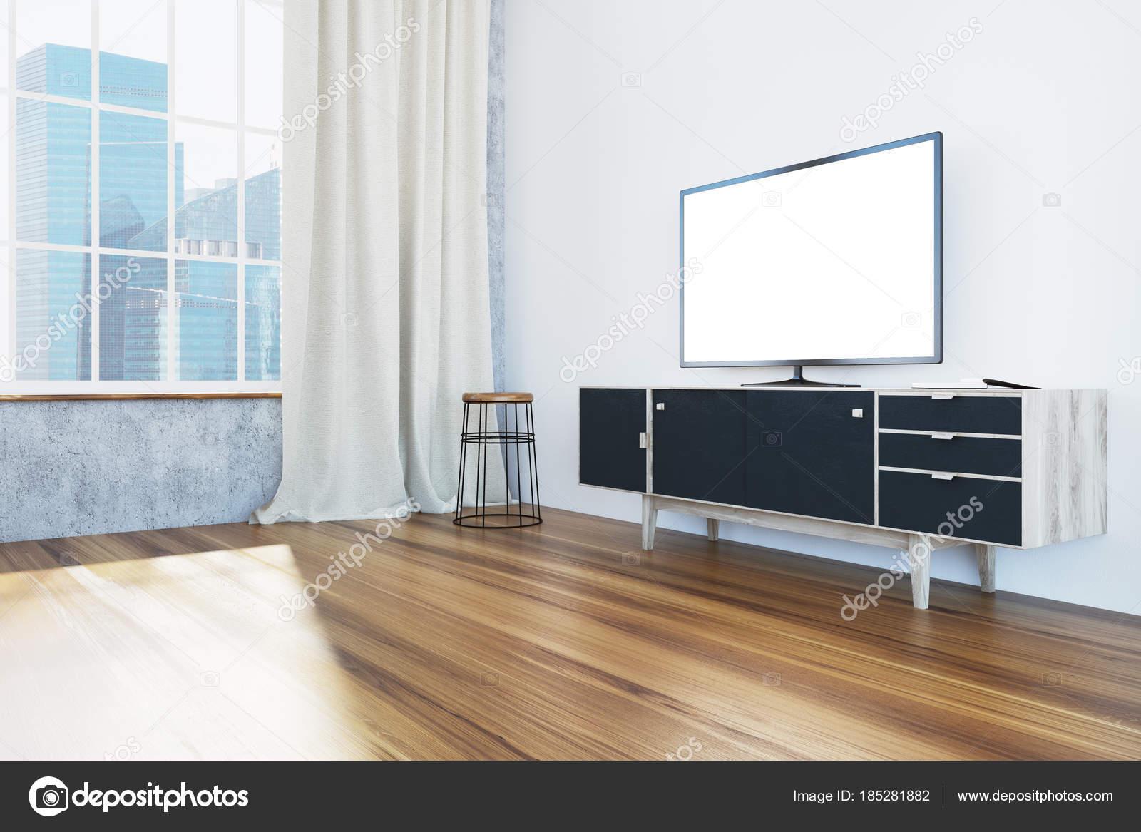 Televisor en negro mueble sala de estar, vista lateral — Foto de ...