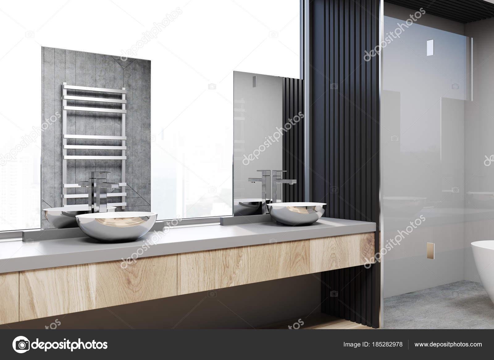 Witte en grijze badkamer hoek, dubbele wastafel — Stockfoto ...