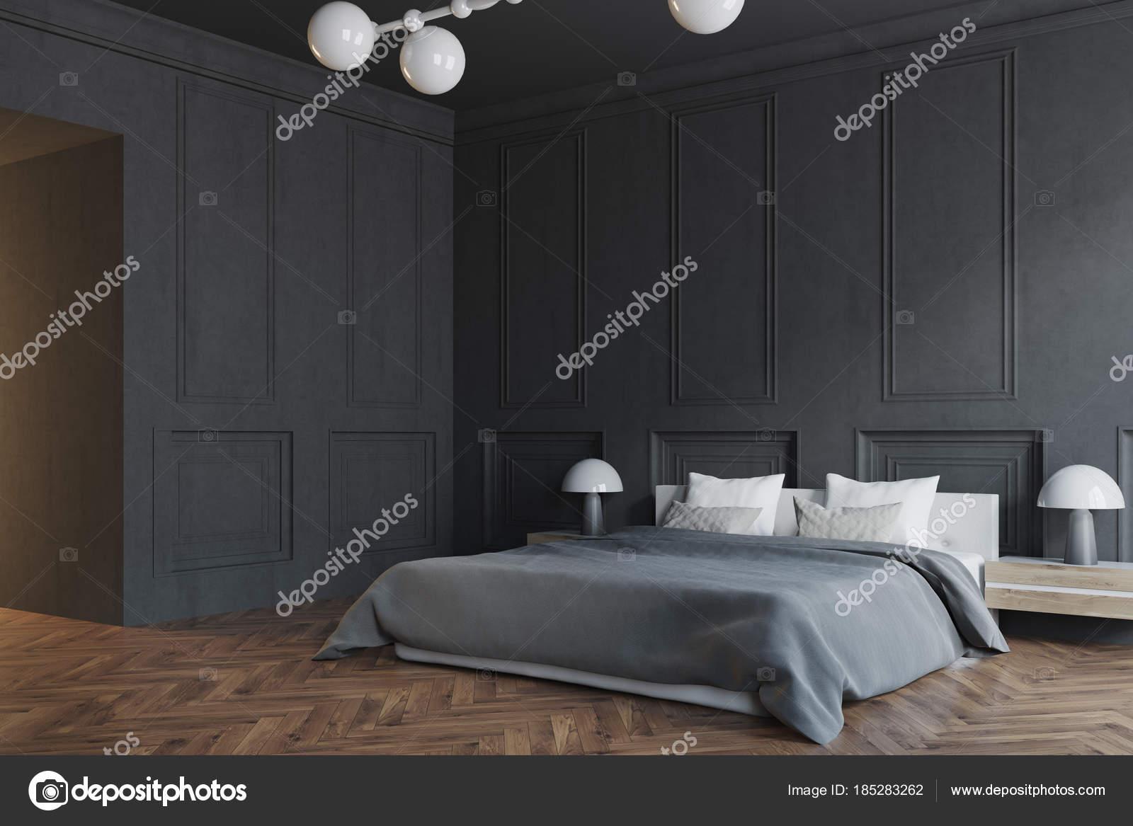 Stilvolle Schlafzimmer Interior Schwarze Seite Stockfoto