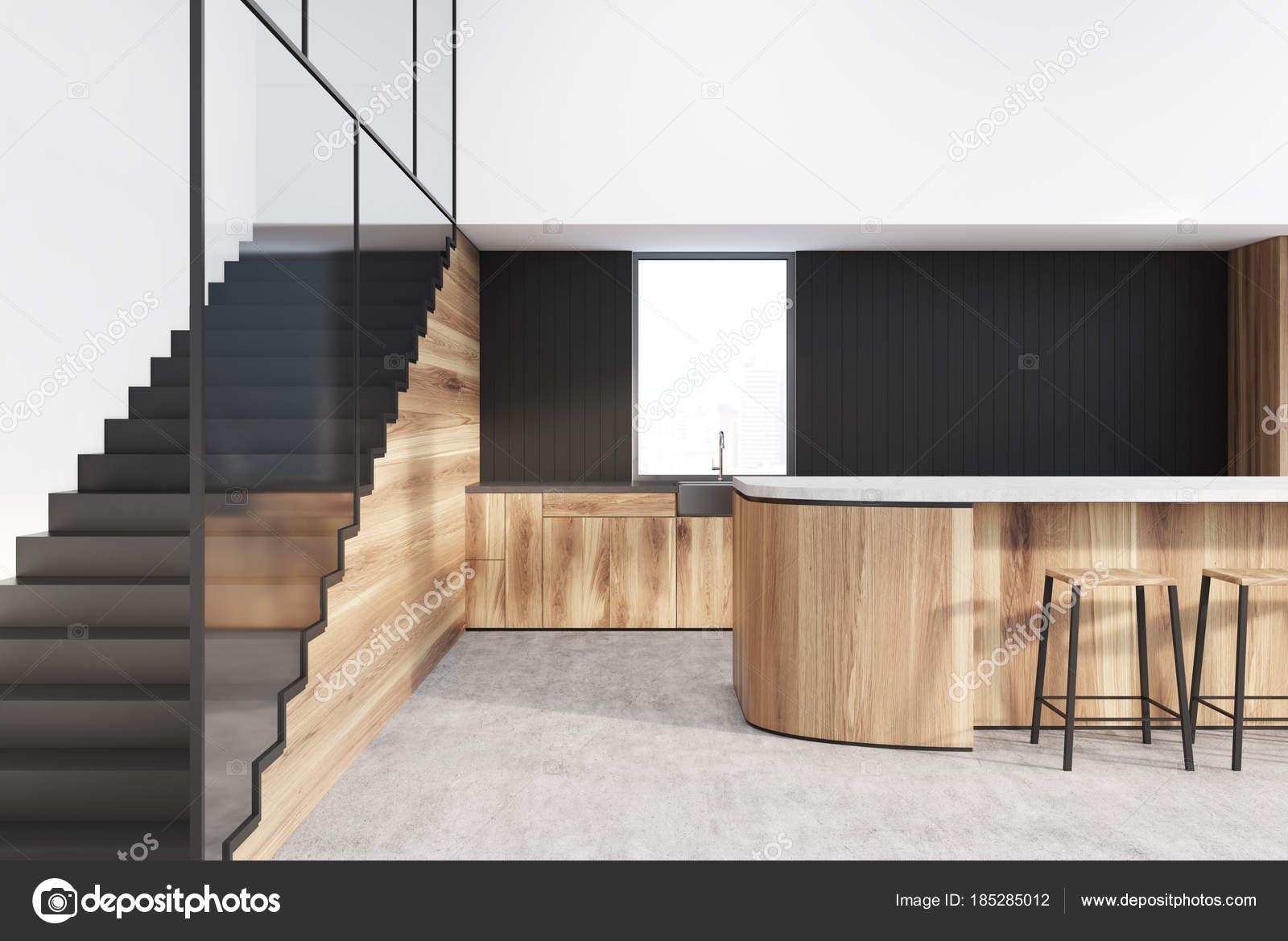 Interno funzionale cucina bianco nero legno u foto stock