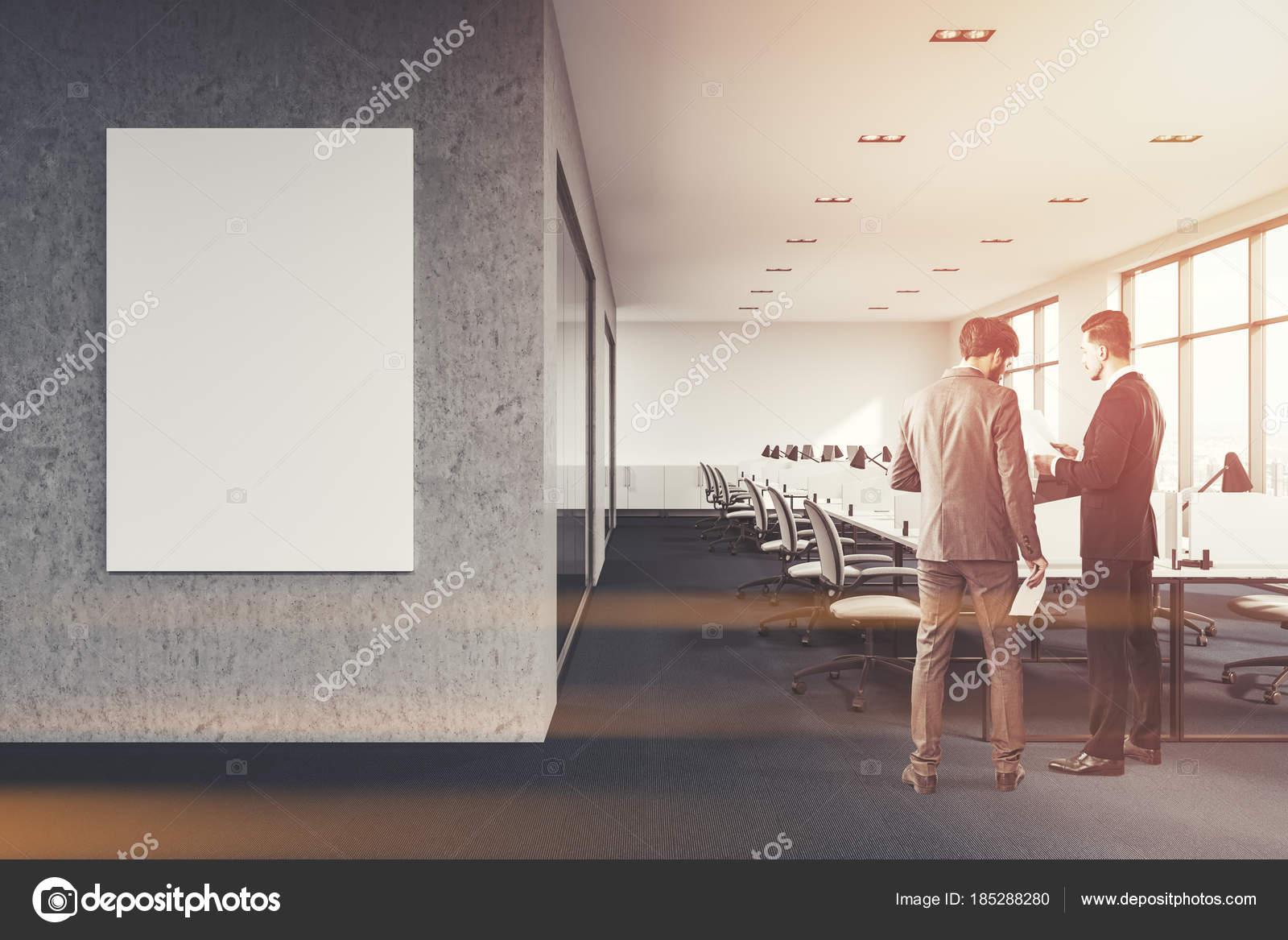Compartiments de bureau béton et blanc bannière personnes