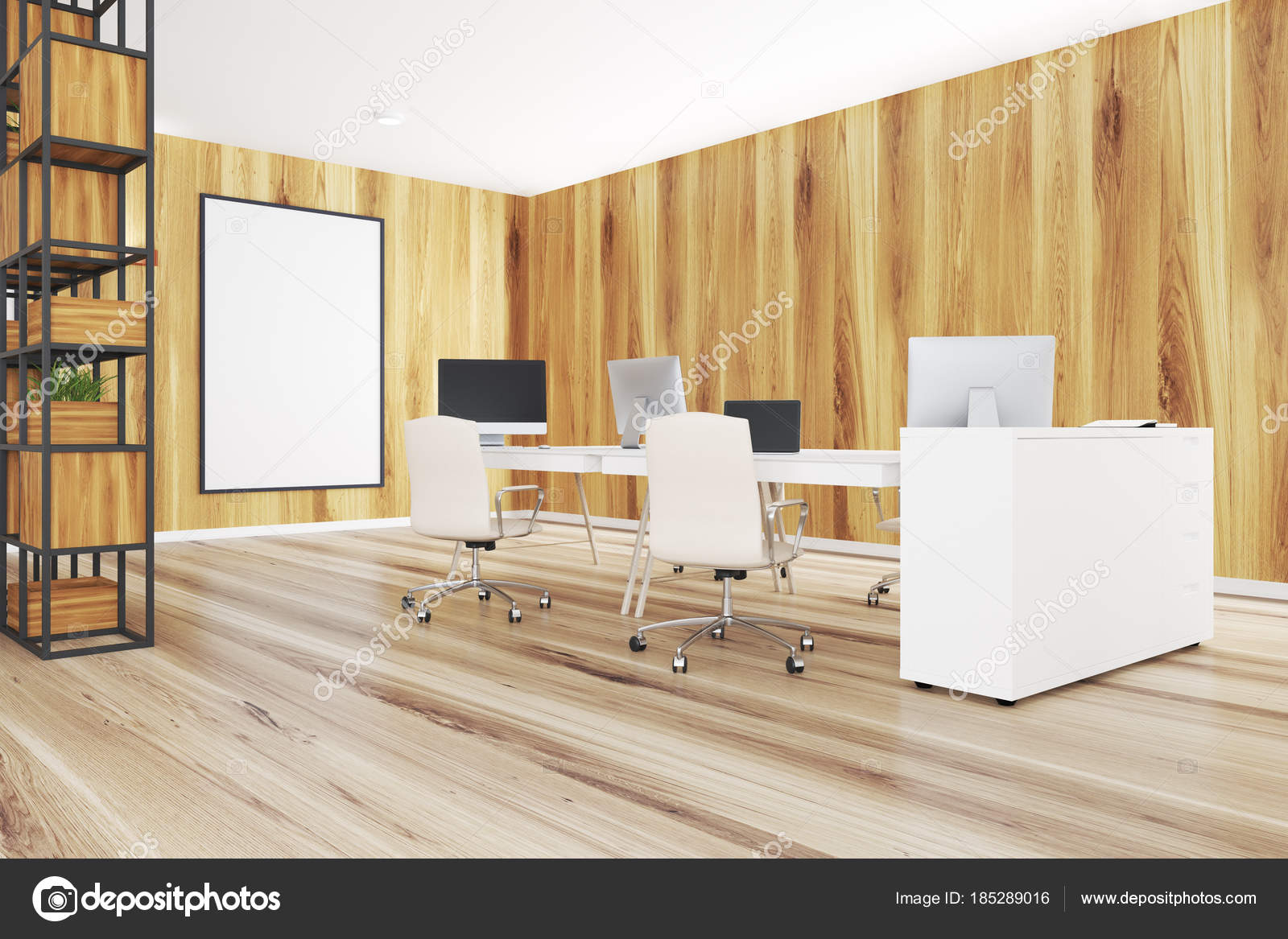 Licht houten kantoor planten poster bureaus u stockfoto