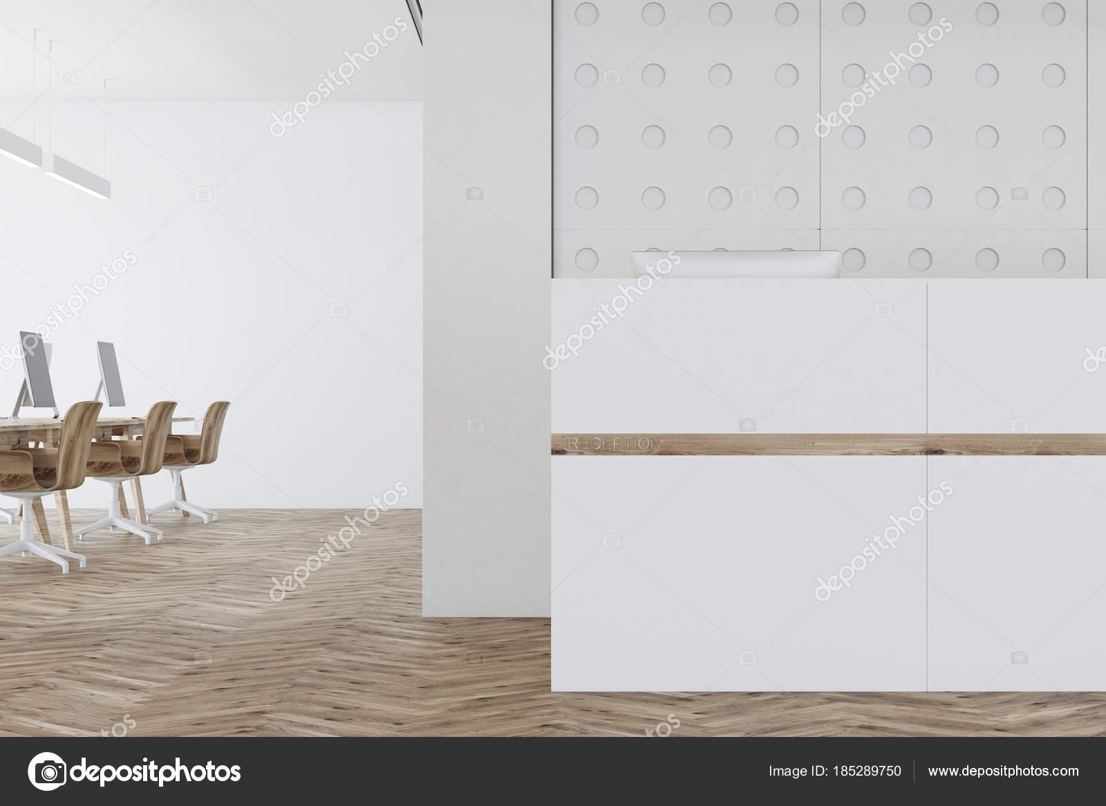 Außergewöhnlich Muster Wand Foto Von Weiße Büro, Rezeption Hautnah — Stockfoto