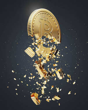 Bitcoin collapse, black background, side view