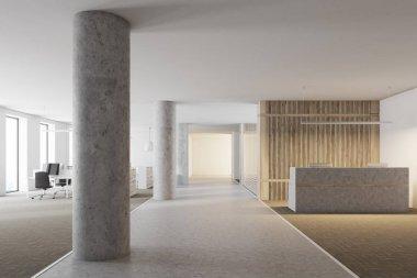 Loft wood reception hall, columns