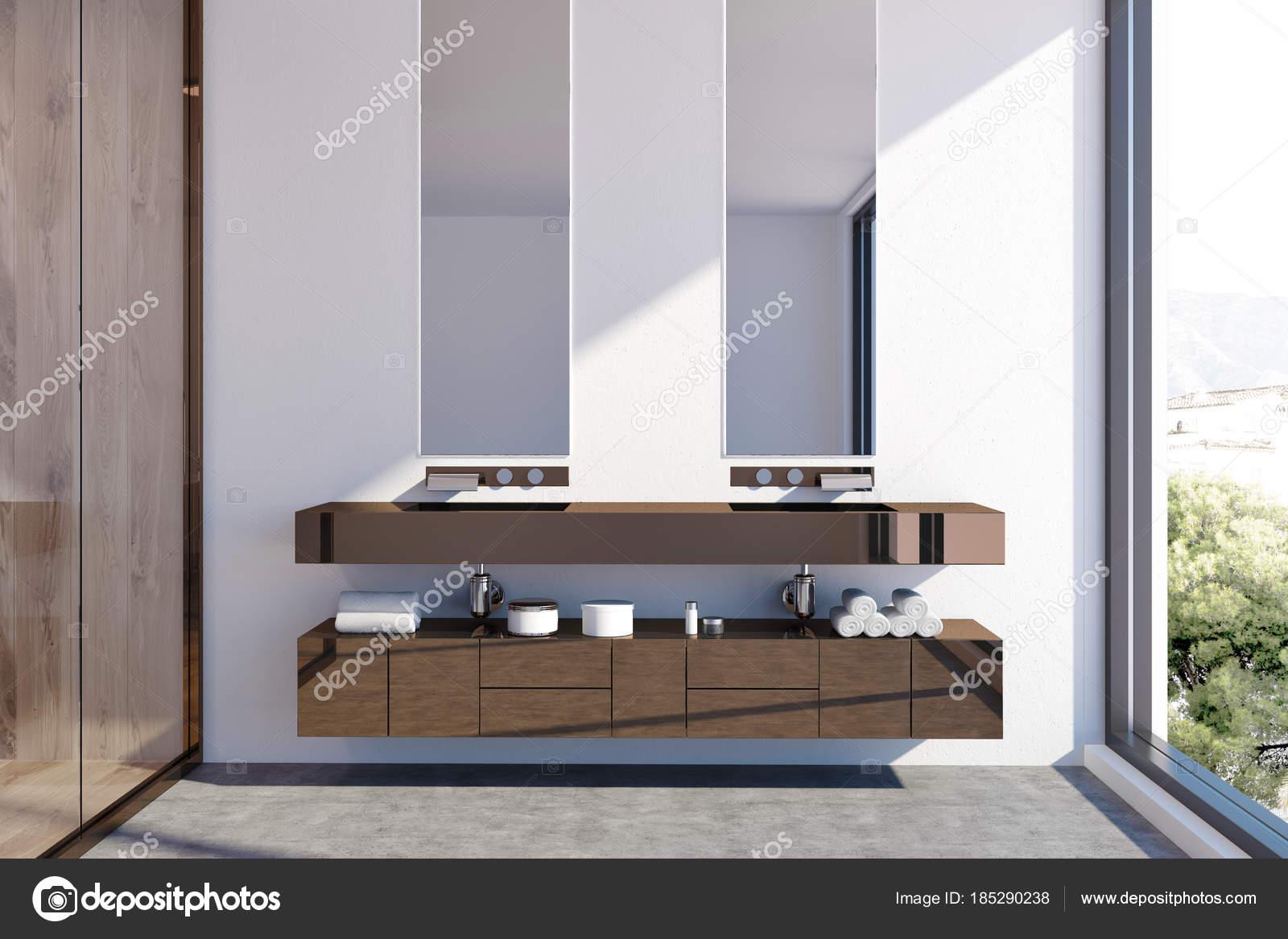Dunkles Holz Doppel-Waschbecken-Unterschrank — Stockfoto ...