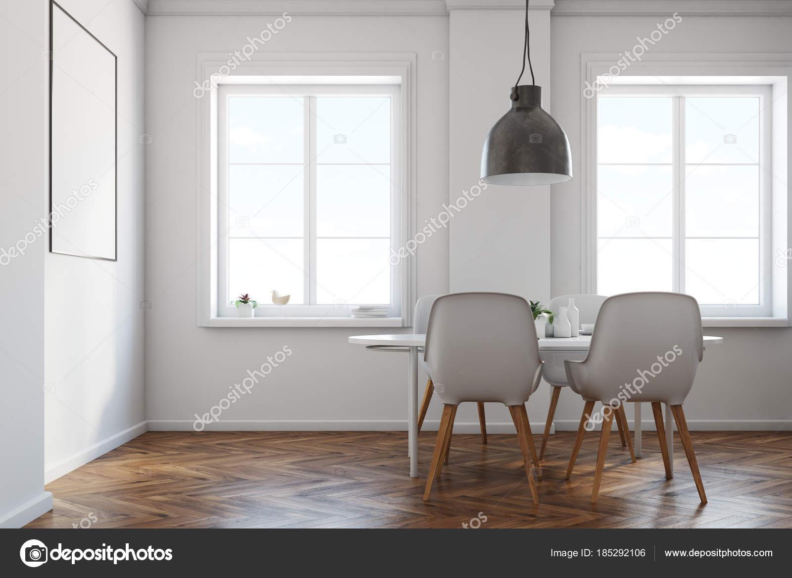 Blanc, salle à manger, parquet, vue latérale affiche ...
