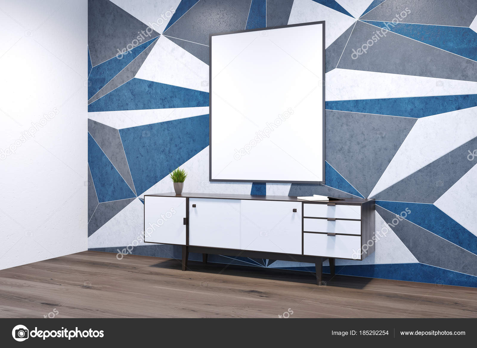 Geometrische Muster Leeren Raum Ecke Mit Einem Weißen Schrank Stehen Auf  Einem Dunklen Holzboden. Ein Plakat. 3D Rendering Mock Up U2014 Foto Von  Denisismagilov
