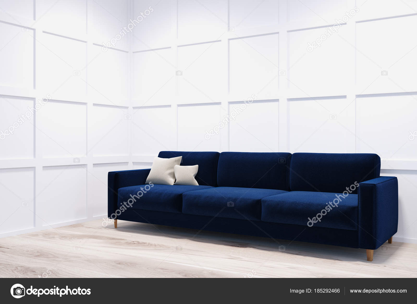 Sof Azul Escuro Em Um Canto Do Quarto Branco Fotografias De Stock  -> Estofados De Canto Confortavel Para Sala Pequena
