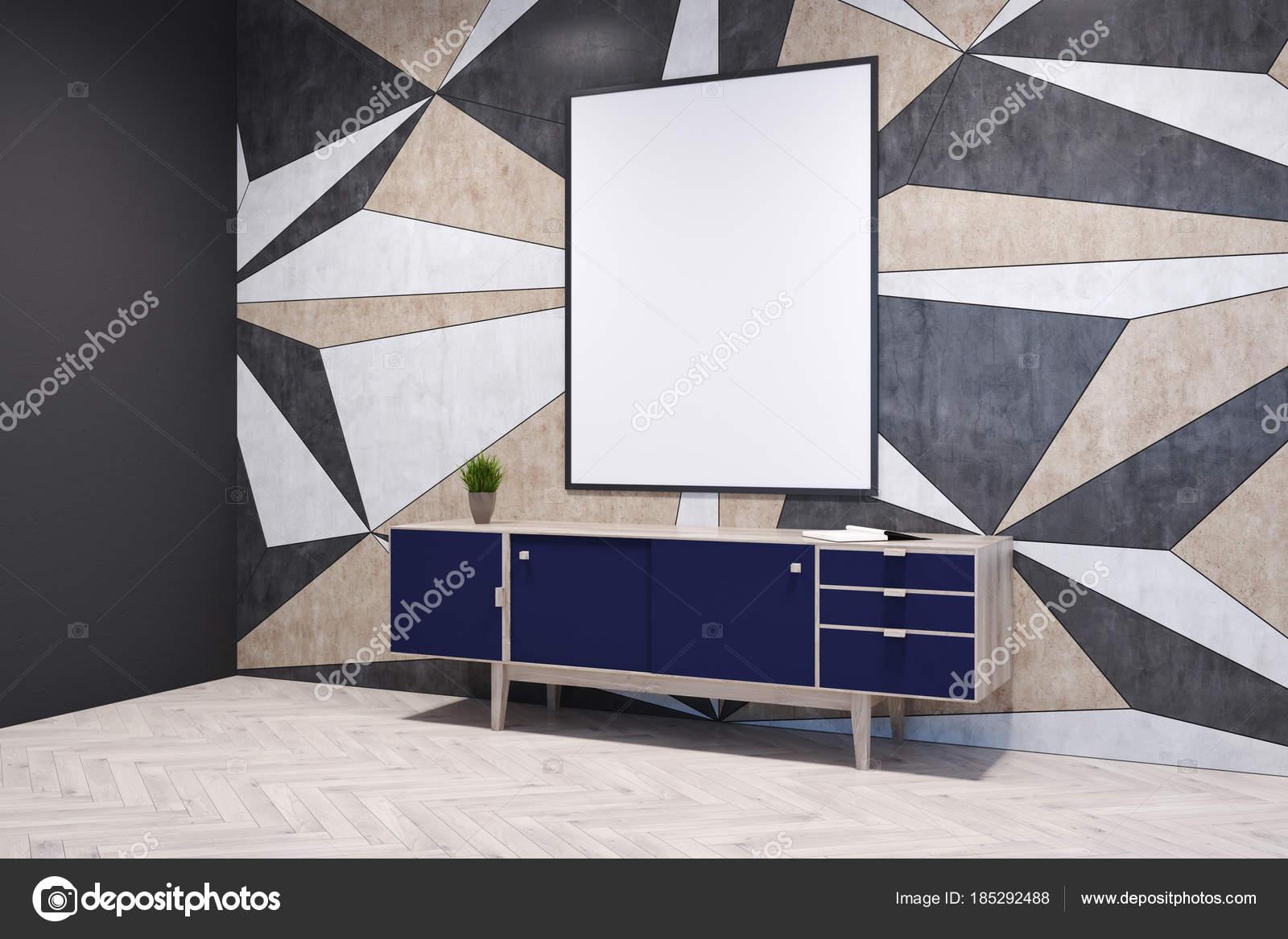 Uberlegen Geometrische Muster Leeren Raum Ecke Mit Einem Dunklen Blau Schrank Stehen  Auf Einem Hellen Holzboden. Ein Plakat. 3D Rendering Mock Up U2014 Foto Von ...