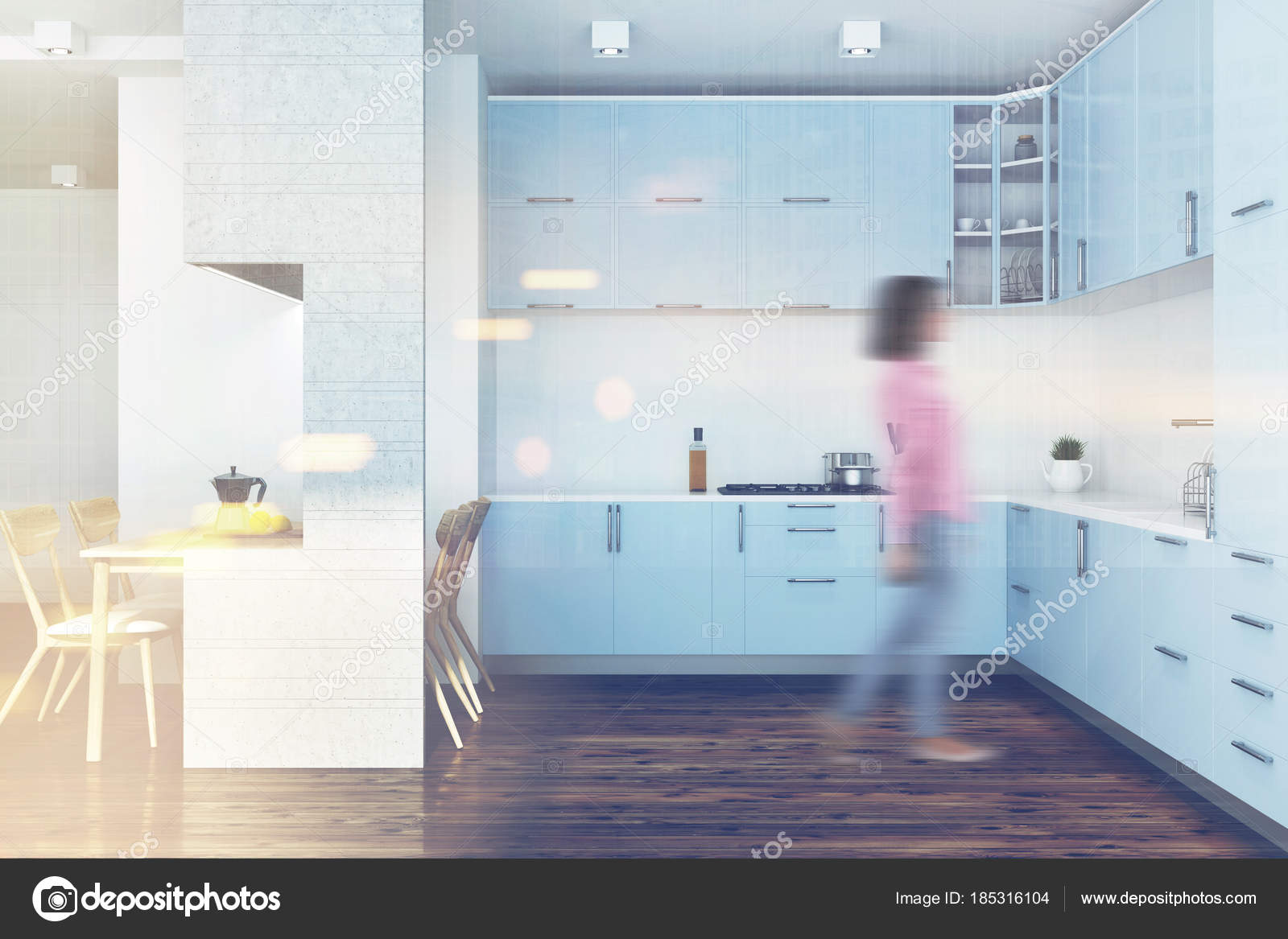 Blue kitchen, white furniture blur — Stock Photo © denisismagilov ...