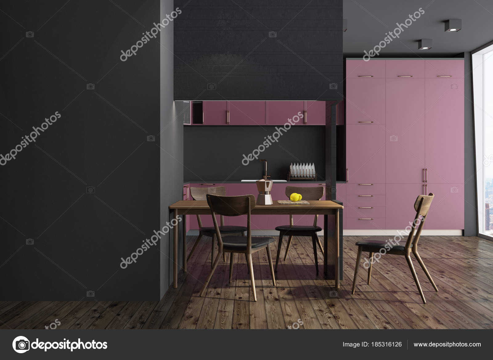 Cucina nera rossa e nera mobili parete u foto stock
