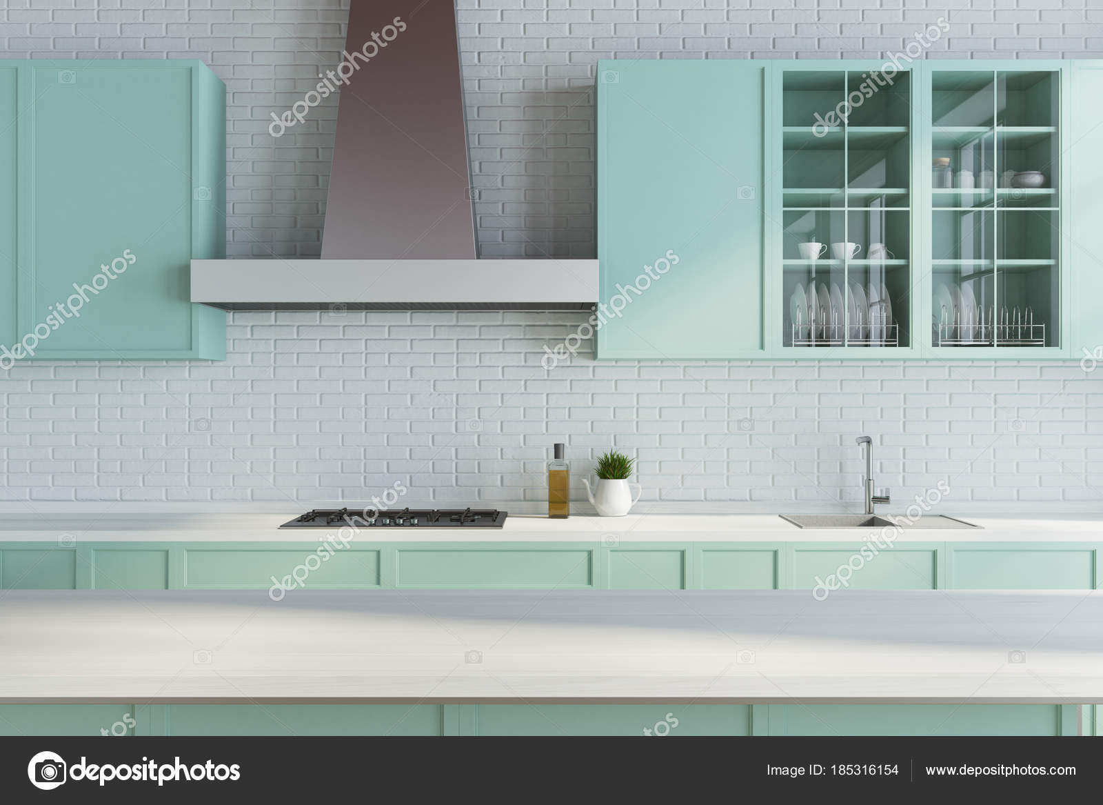 Modern white kitchen, green countertops close up — Stock Photo ...