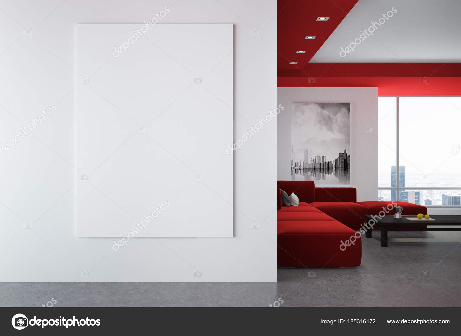 White and red living room interior, poster, wall — Stock Photo ...
