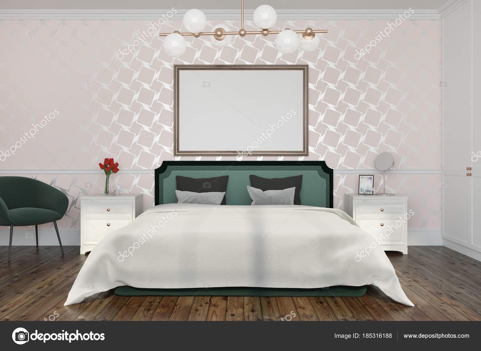 Poster di interni, camera da letto modello bianco — Foto ...