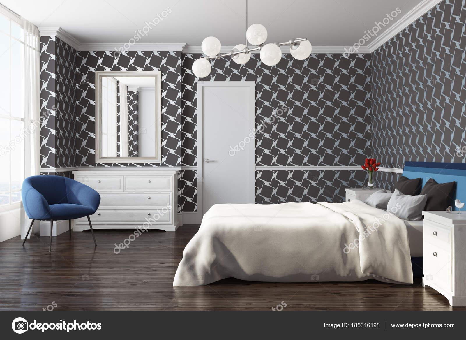 Schwarze Muster Schlafzimmer, Sessel, Seitenansicht — Stockfoto ...