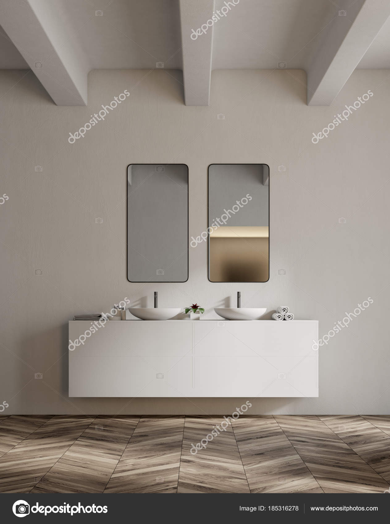 White Sink Vanity Unit In A Bathroom Double Stock Photo