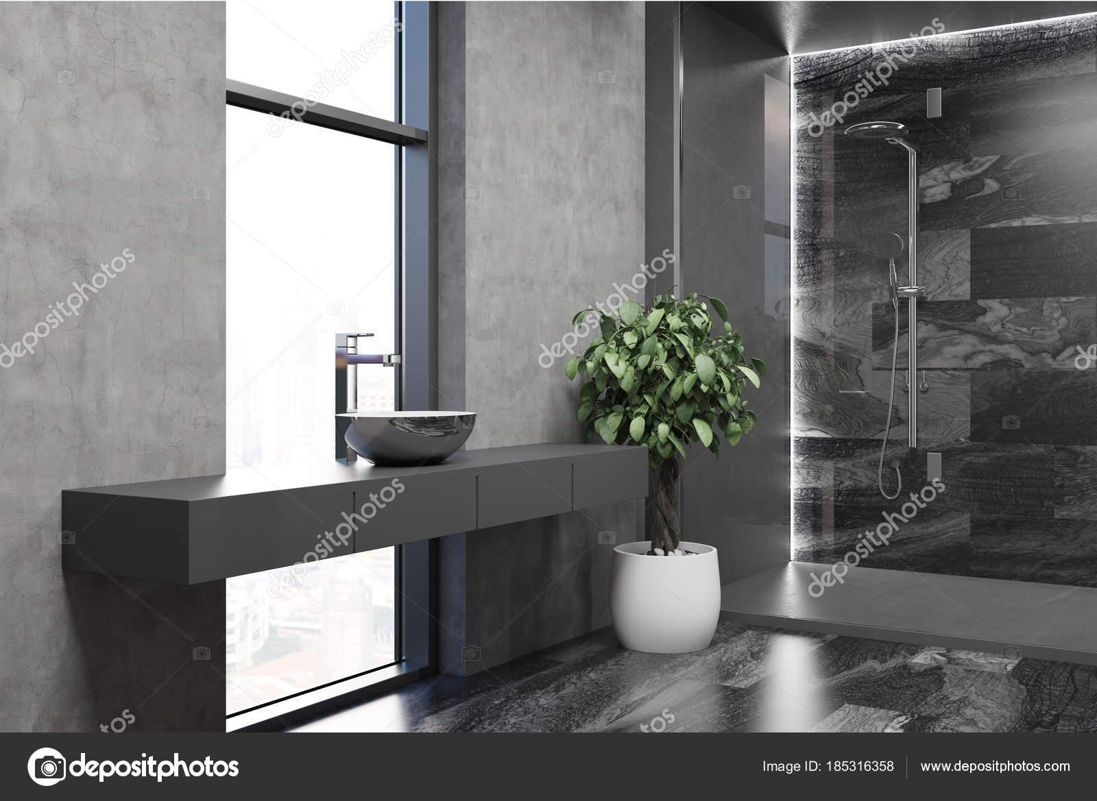 Grijze moderne badkamer hoek u stockfoto denisismagilov