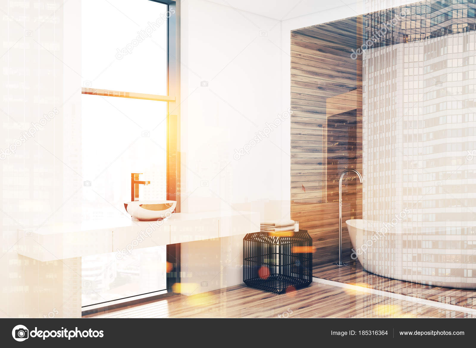 Esquina de un cuarto de baño blanco y madera color — Foto de stock ...