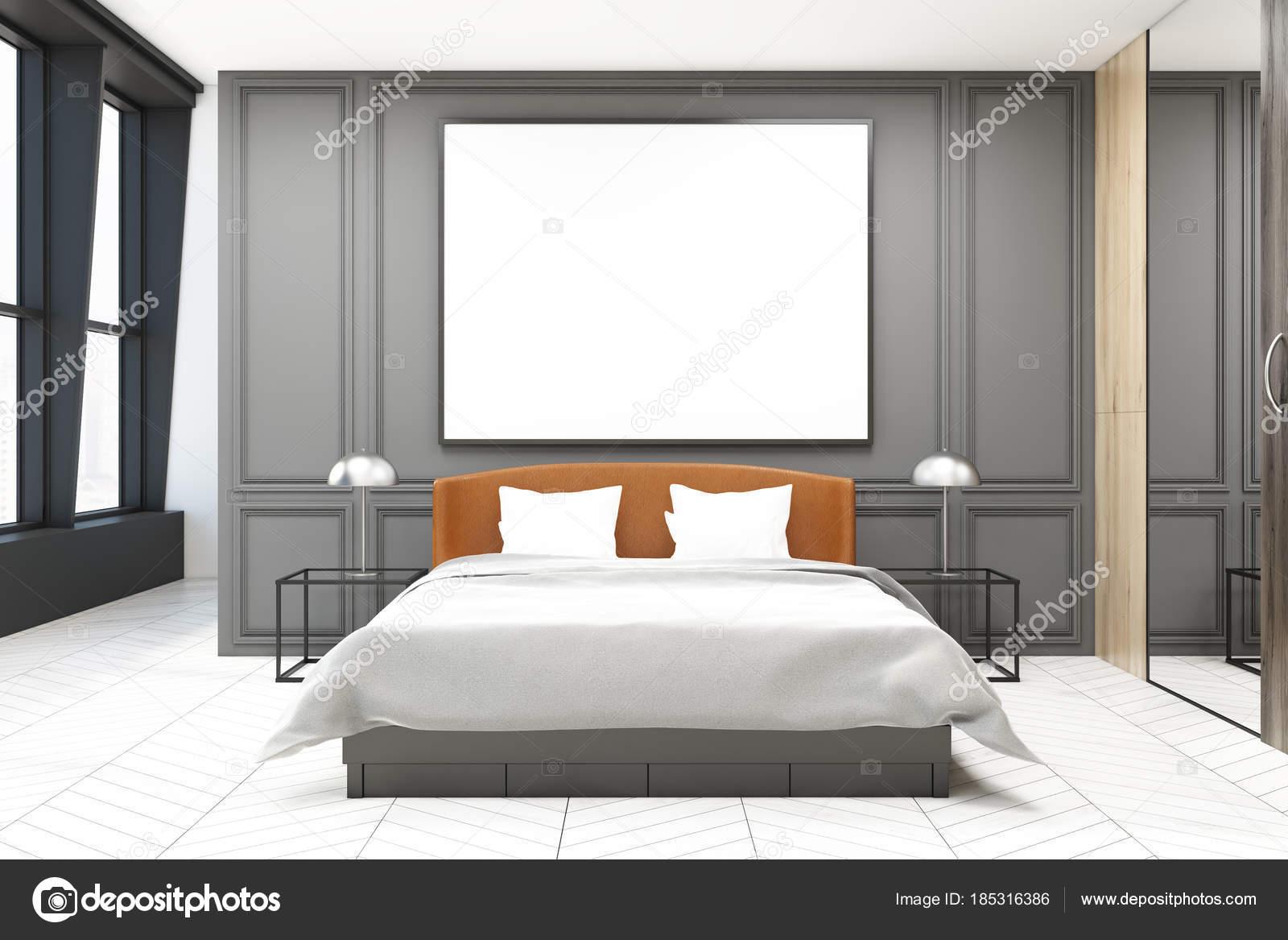 Slaapkamer Interieur Grijs : Stijlvolle slaapkamer interieur grijs u stockfoto