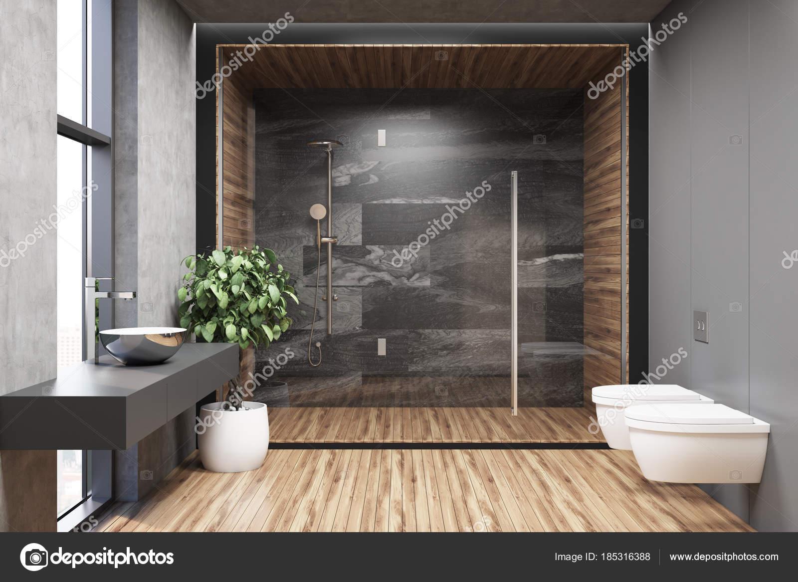 Interieur van een grijze badkamer met houten vloer — Stockfoto ...