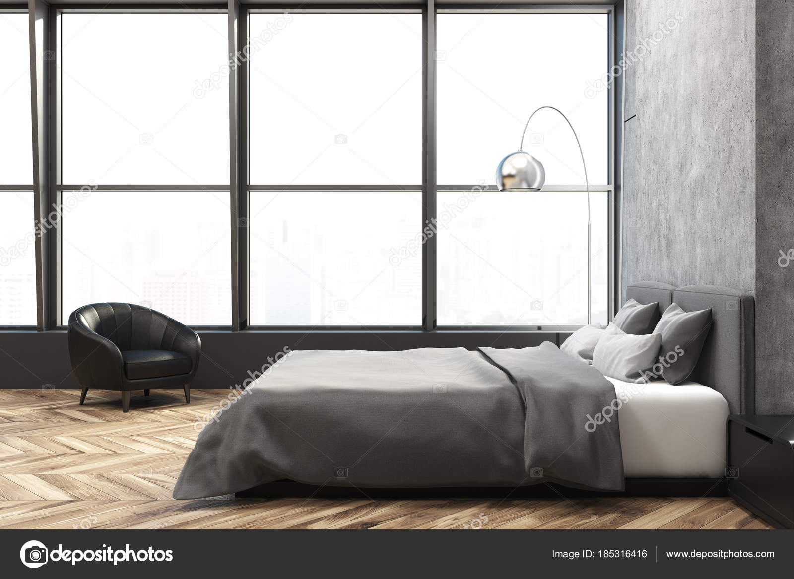 Poltrona da interno, camera da letto Loft — Foto Stock ...