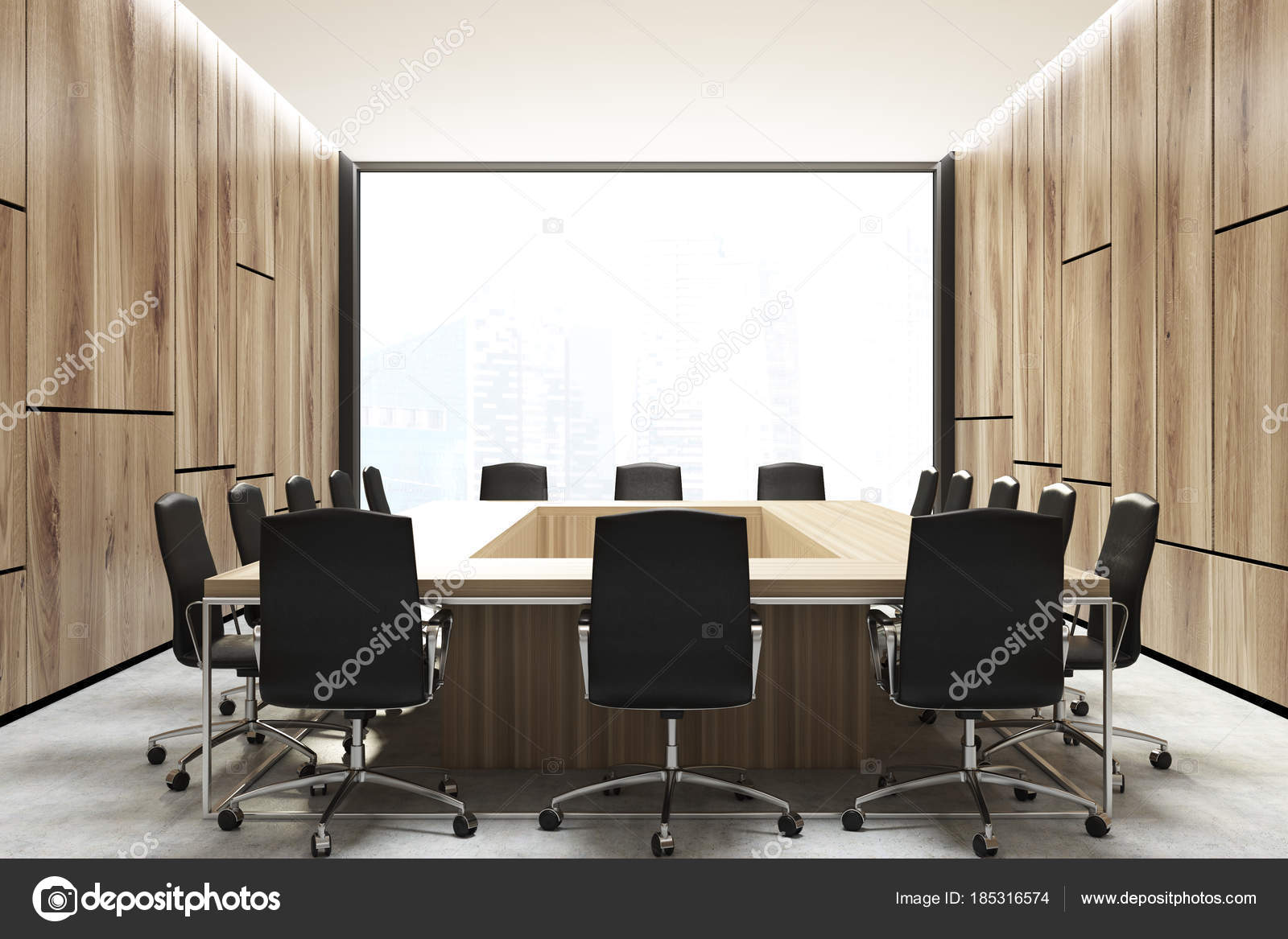 Loft Meeting Room Interior Square Table Stock Photo - Square conference room table