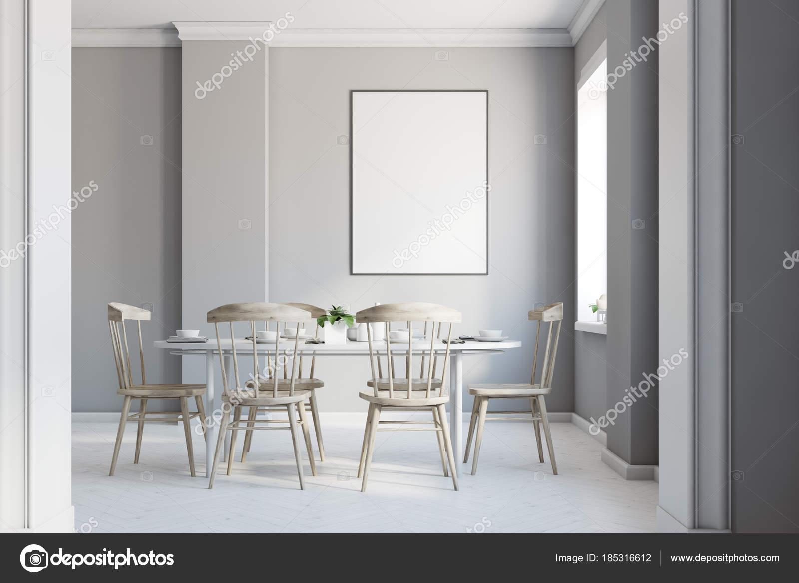 Affiche intérieure, salle à manger gris — Photographie ...