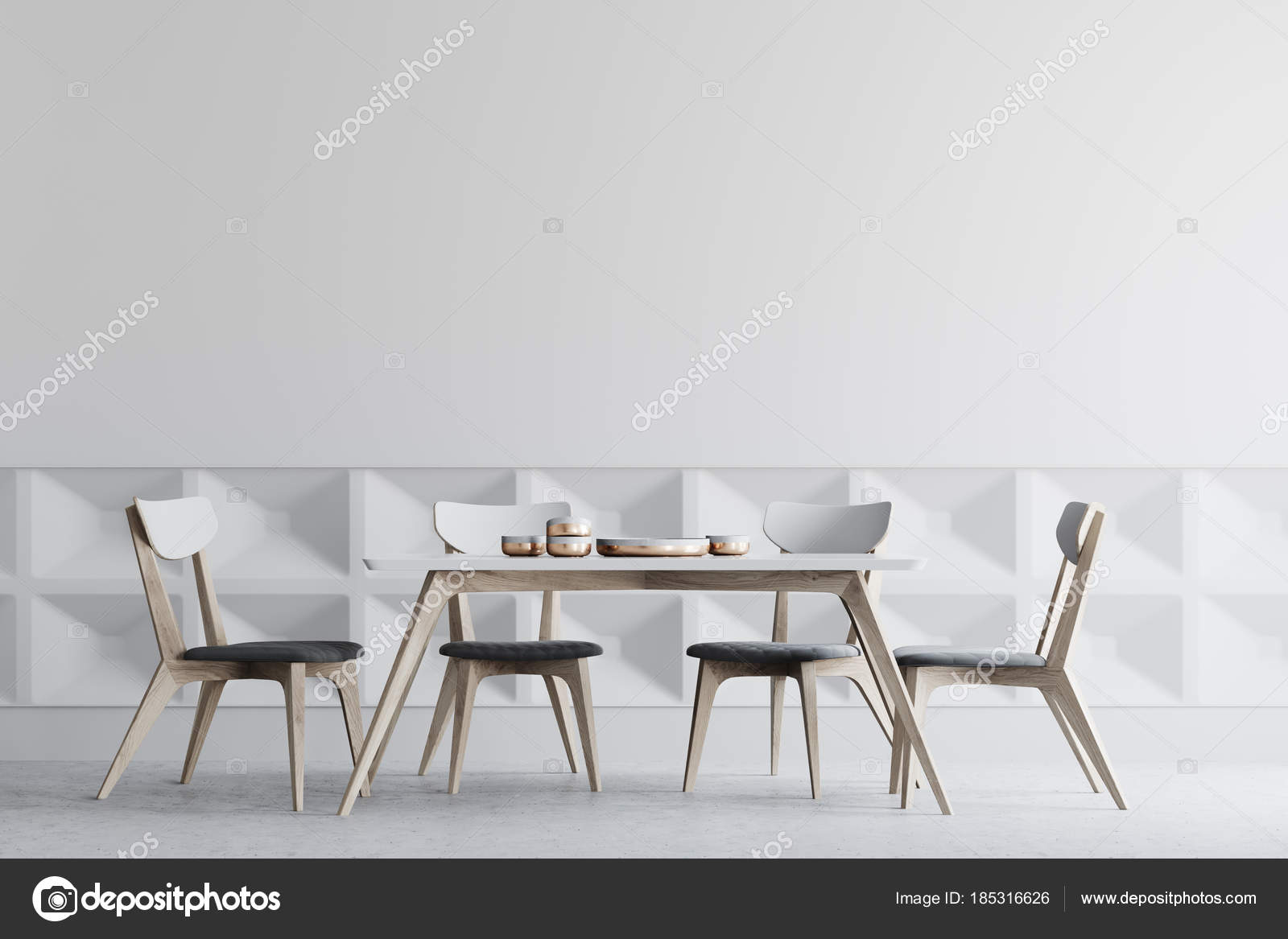 Sedie Bianche E Legno : Sala da pranzo interni in legno sedie bianche u2014 foto stock