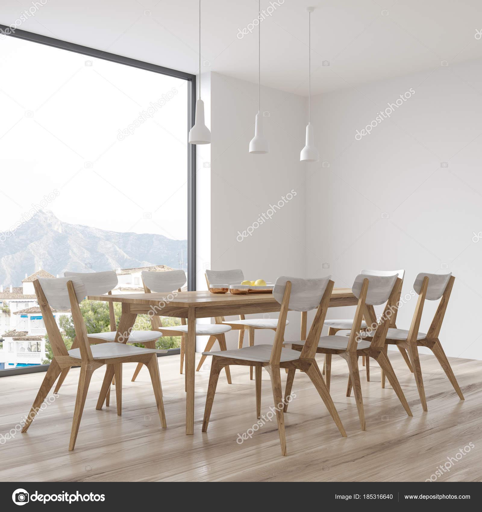Tavolo Da Soggiorno Con Sedie.Bianco Tavolo Da Pranzo Con Sedie Di Design Vista Laterale Foto