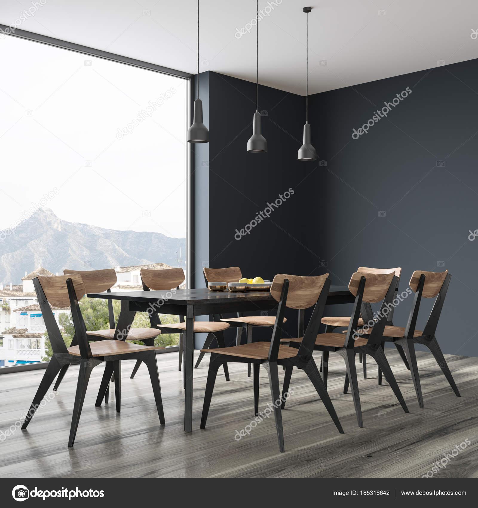 Tavolo Da Soggiorno Con Sedie.Nero Tavolo Da Pranzo Con Sedie Di Design Vista Laterale Foto