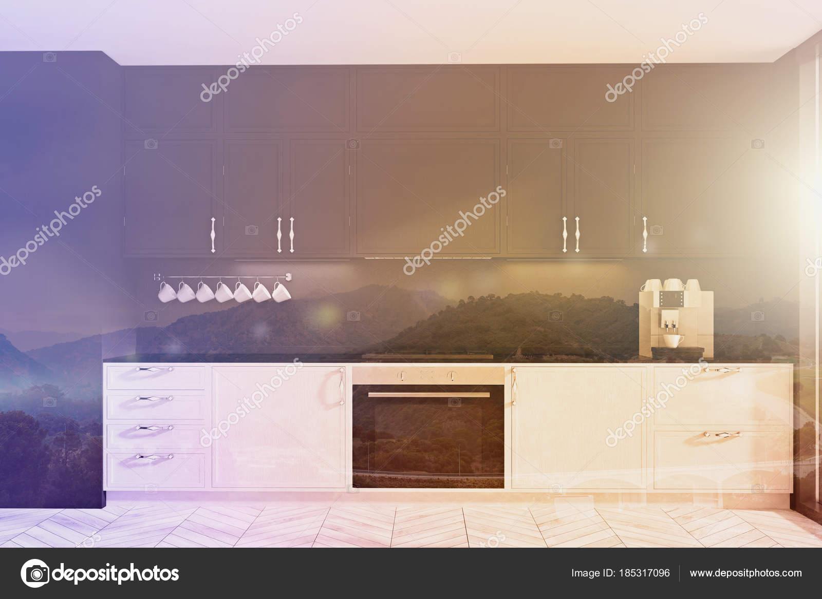 Zwarte Keuken Ideeen : Witte en zwarte originele keuken idee toned u2014 stockfoto