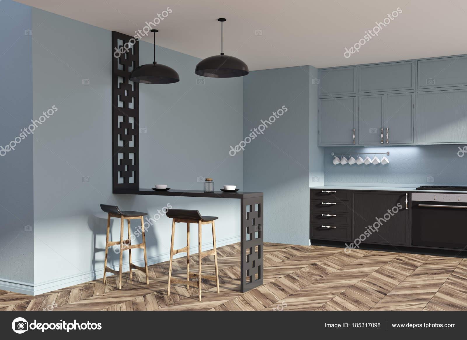 Zwarte Keuken Ideeen : Grijze en zwarte originele keuken idee kant u2014 stockfoto
