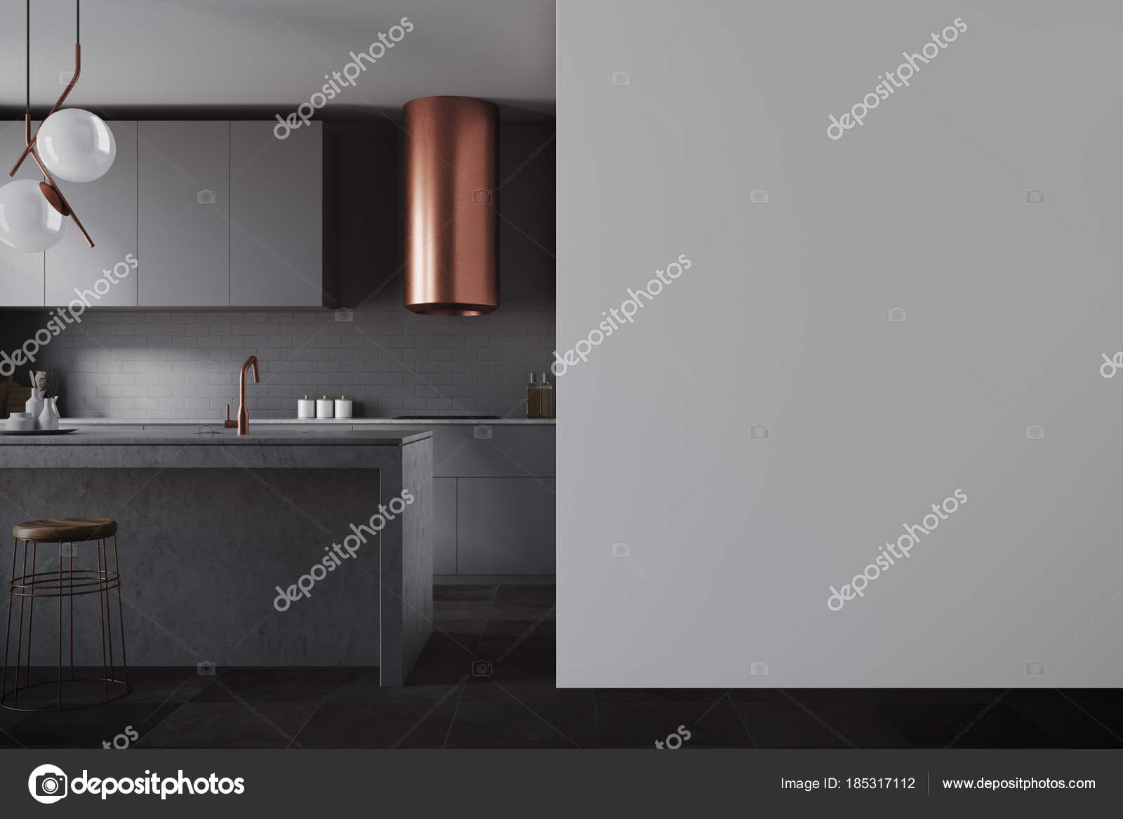 Piani cucina, nero parete grigia — Foto Stock © denisismagilov ...