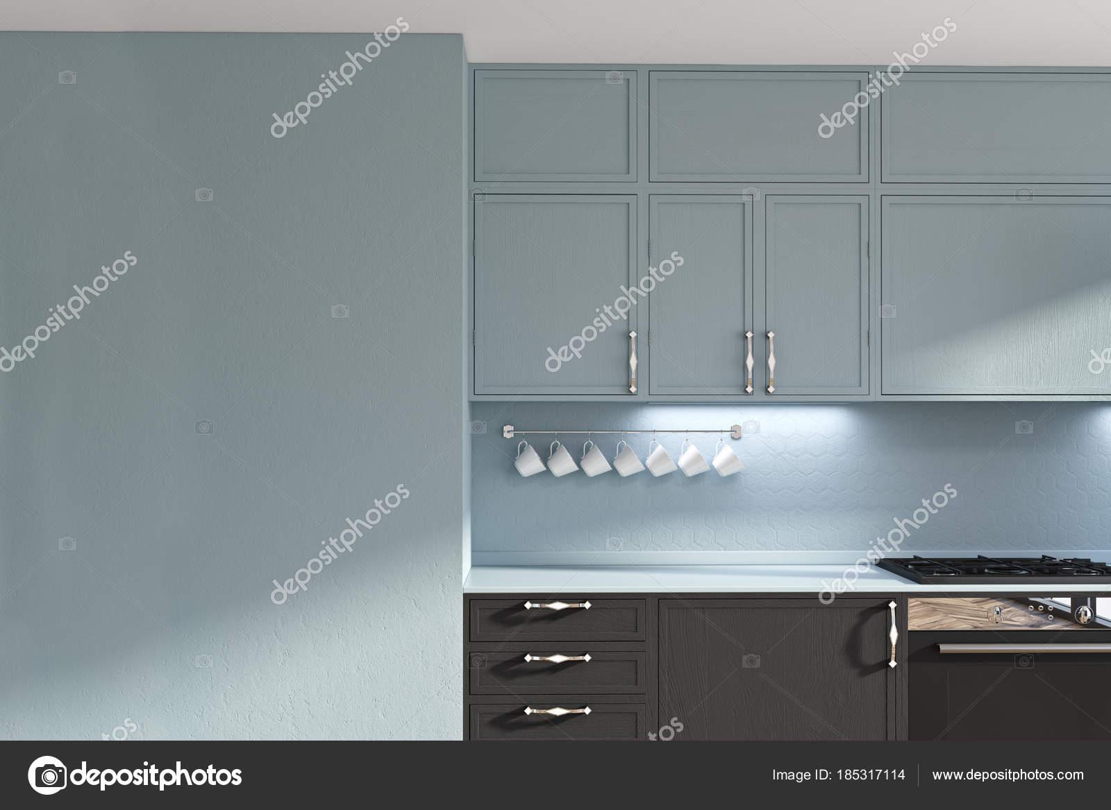 Zwarte Keuken Ideeen : Grijze en zwarte originele keuken idee muur u2014 stockfoto