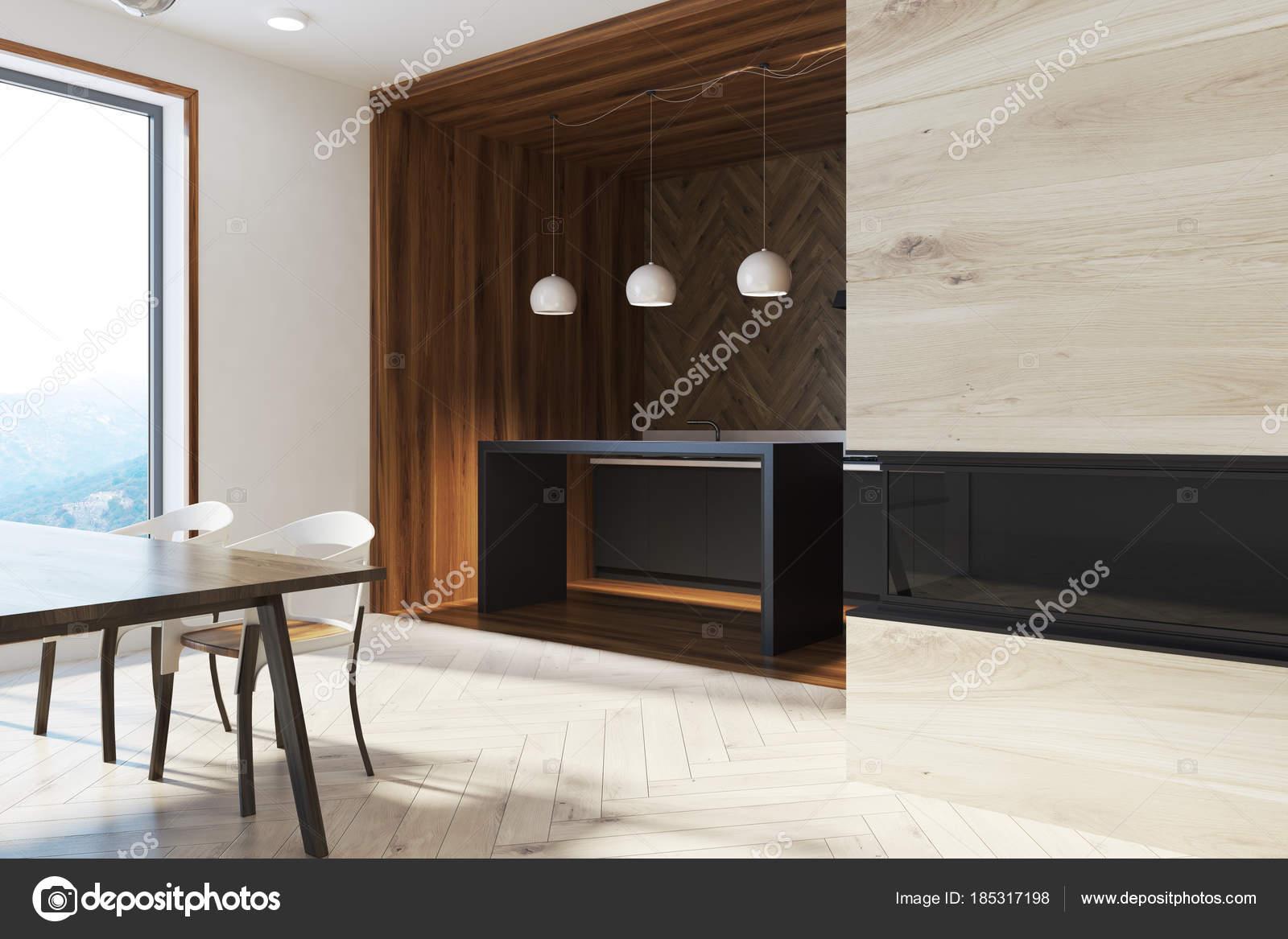 Design Tafel Stoelen : Donkere houten eettafel met design stoelen zijde u stockfoto