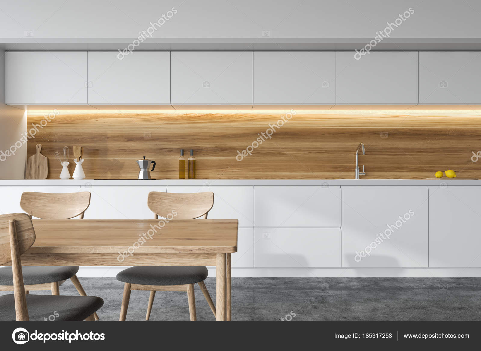 Vista frontale di una cucina bianca e in legno, tavola — Foto Stock ...