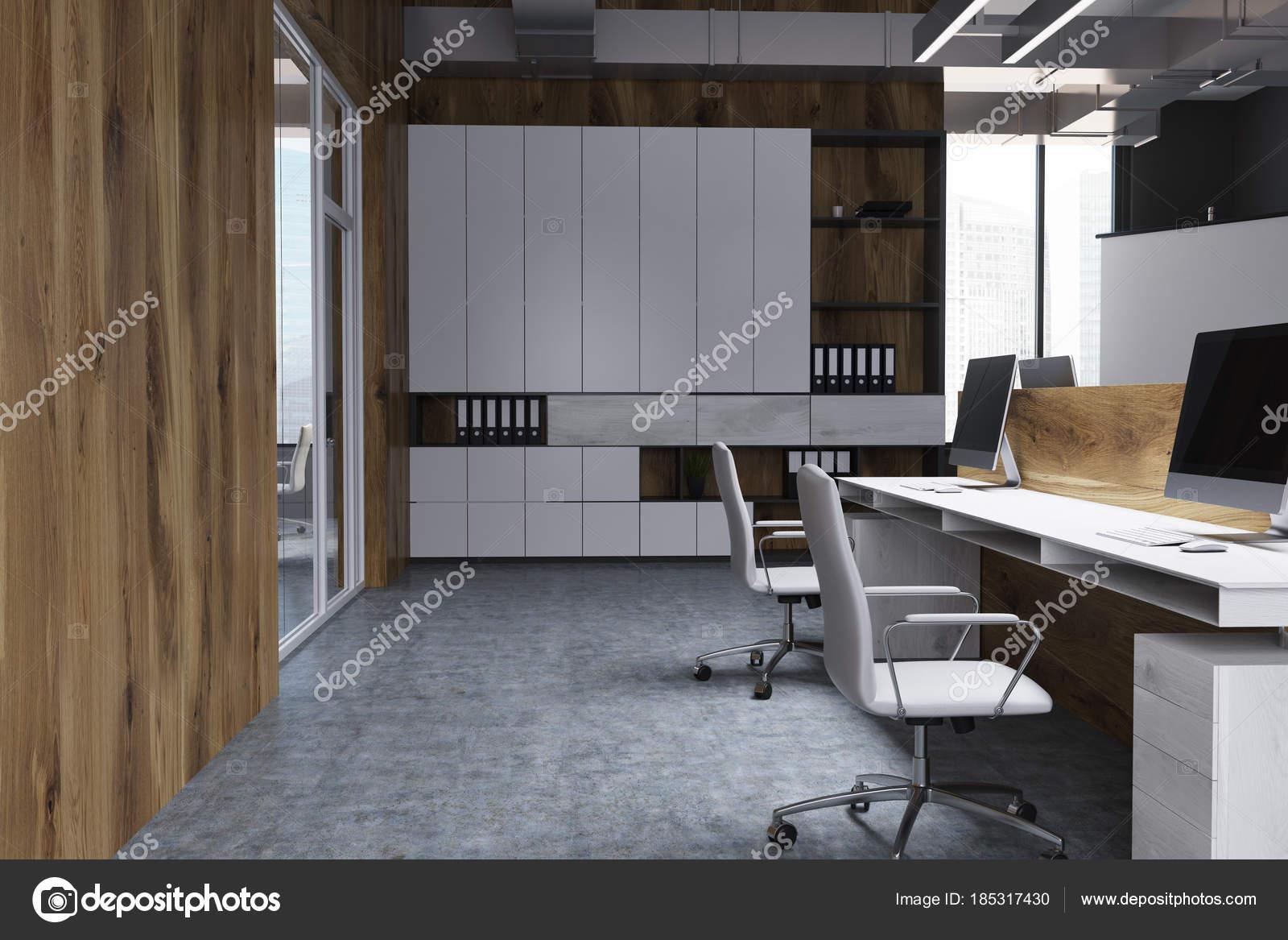 Bureau de mur en bois avec une bibliothèque u photographie