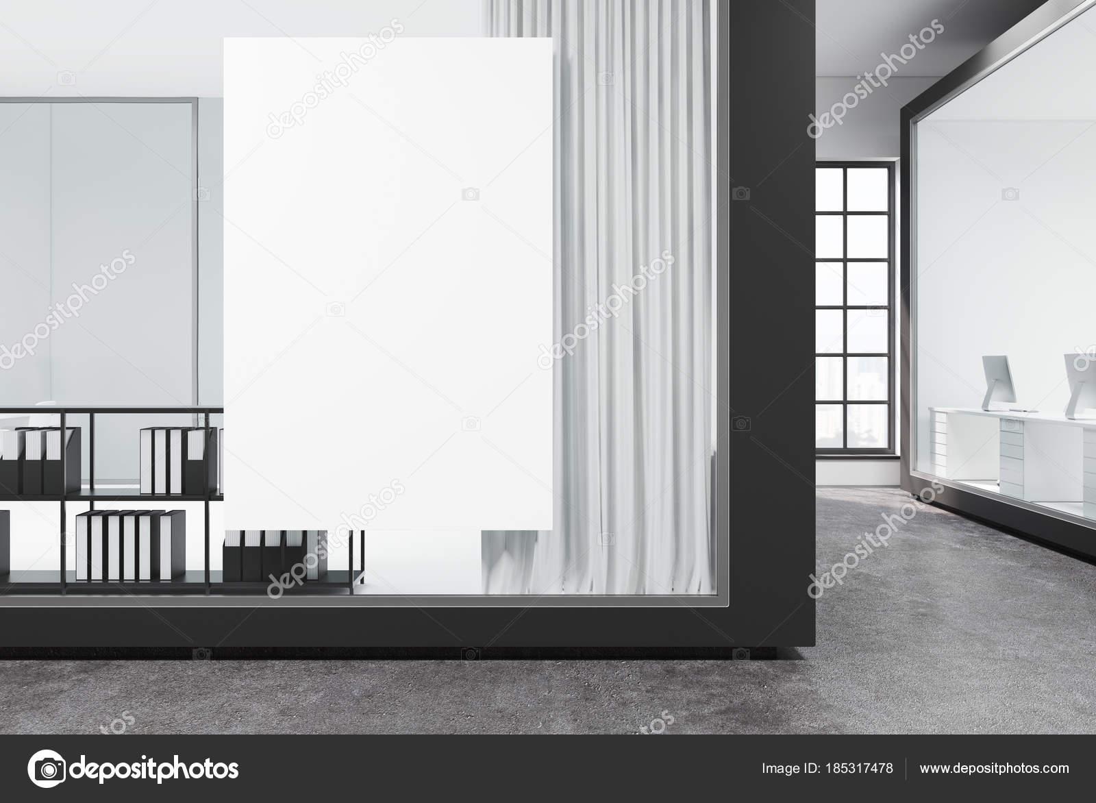 Blanc verre ouvrir espace bureau béton fermer vers le haut