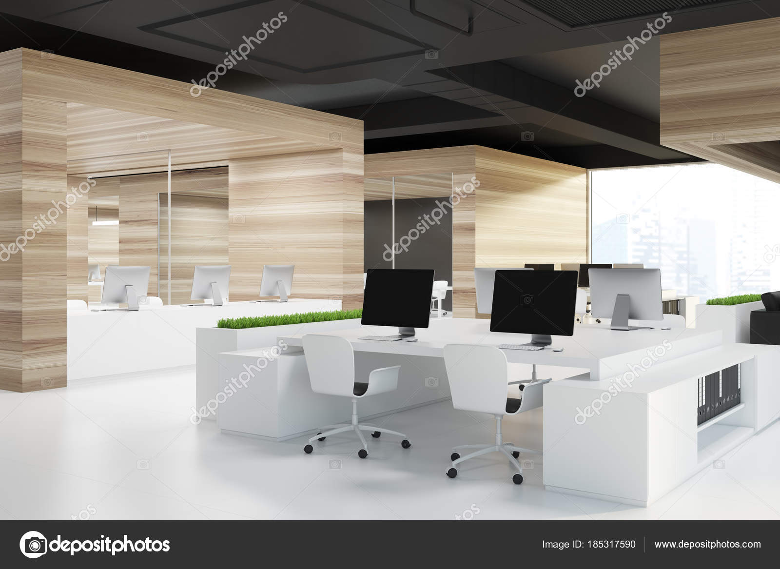Espace bureau coin blanc étage u photographie denisismagilov
