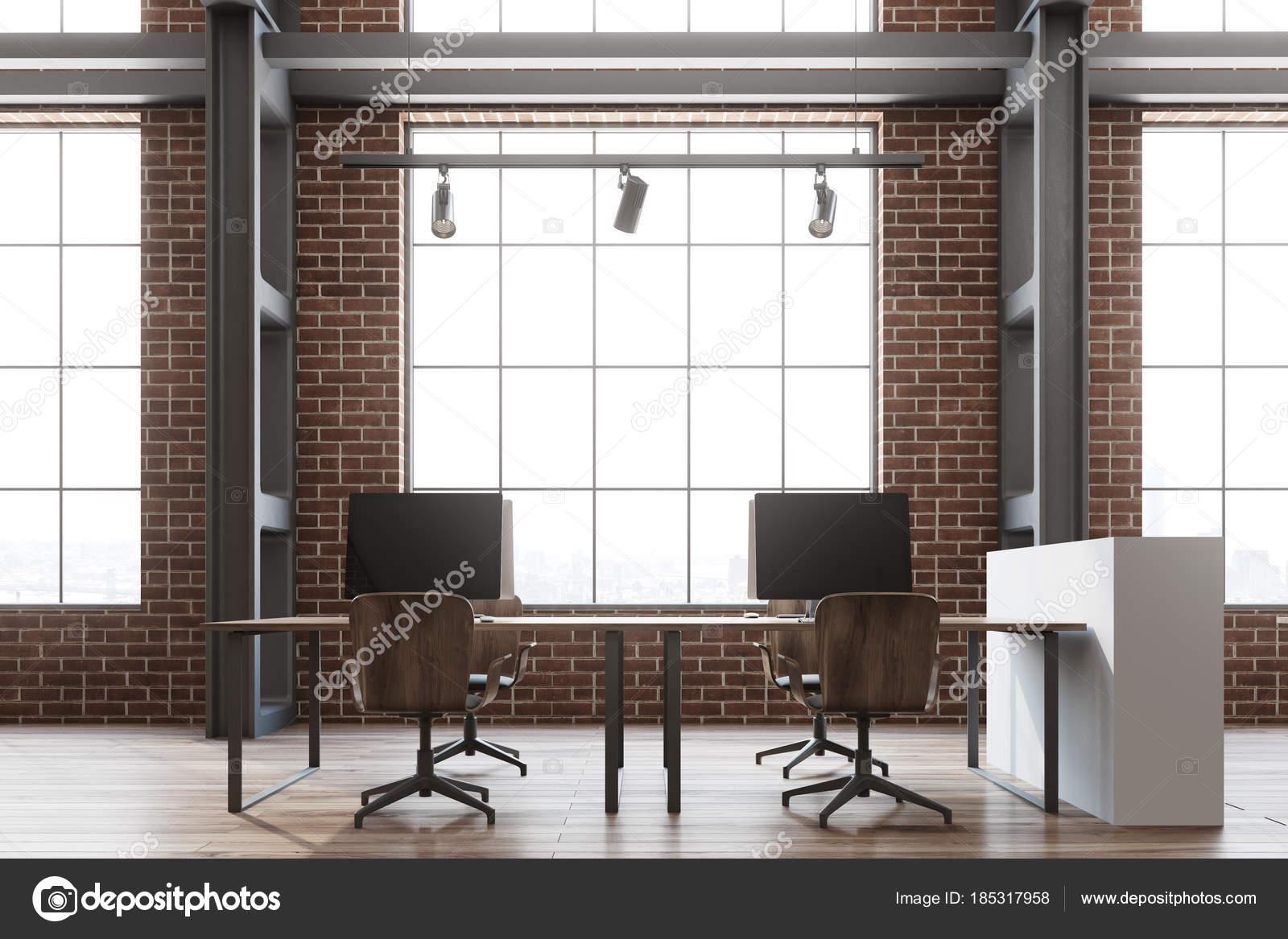 Ladrillo Loft oficina de espacio abierto de pared de ladrillo loft foto de