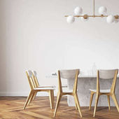 Photo White dining table with design chairs close up