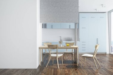 White kitchen, blue and white furniture side